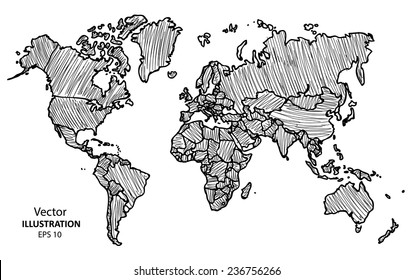 World Map Drawing Images, Stock Photos & Vectors | Shutterstock