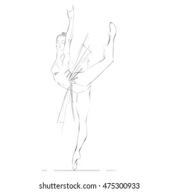 Hand Drawing of a Young Ballerina. Vector Illustration.