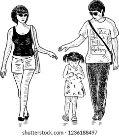 Hand drawing of young parents with their daughter going for a walk