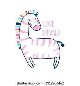 Hand drawing zebra illustration vector and  print design for summer.