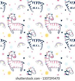Hand drawing zebra pattern slogan vector.