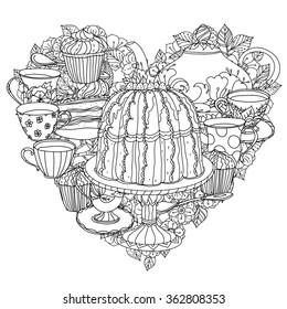 Hand drawing zentangle black and white  ornament. Heart shape. With elements of time for tea, cups, teapot, cake and cupcakes. Could be use  for coloring book.