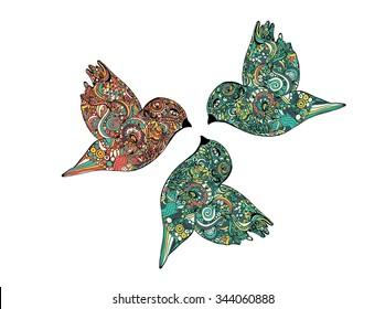 Hand drawing zentangle. Decorative, abstract bird.  Vector illustration
