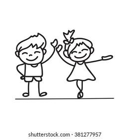 hand drawings cartoon happy kid happiness concept