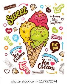 Hand Drawn 3 flavor Ice Cream Cone Doodle Illustrator