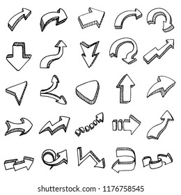 Hand drawn 3D arrows set doodle icon. Hand drawn black sketch. Sign cartoon symbol. Decoration element. White background. Isolated. Flat design. Vector illustration.