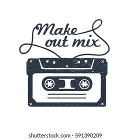 "Hand drawn 90s themed badge with cassette tape textured vector illustration and ""Make out mix"" inspirational lettering."