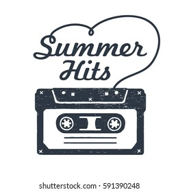 """Hand drawn 90s themed badge with cassette tape textured vector illustration and """"Summer hits"""" inspirational lettering."""