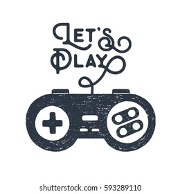 """Hand drawn 90s themed badge with gamepad textured vector illustration and """"Let's play"""" inspirational lettering."""