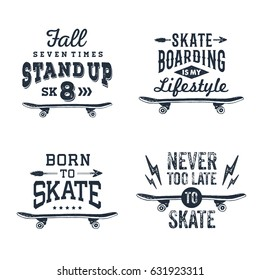Hand drawn 90s themed set of badges with skateboard textured vector illustration and inspirational lettering.
