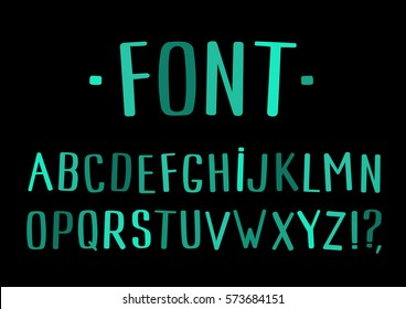 Hand drawn ABC letters set. Handwritten mint script alphabet. Hand-lettering and typography isolated on black background for your designs: logo, poster, banner, card. Vector Font.