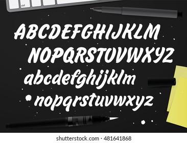 Hand drawn ABC set. Vector Cursive Font.