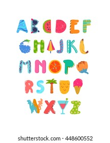 Hand Drawn ABC, Summer elements, Creative Alphabet with cute happy and fun patches, stickers: ice cream, fruits, berries, sunglasses, surfer, decorative details, icons... Vector illustration.