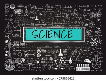 Hand drawn about Mathematics on chalkboard with the world SCIENCE in transparent frame with blue background.