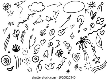 hand drawn Abstract arrows, ribbons and other handdrawn style elements for concept design. Doodle illustration, Vector template for decoration