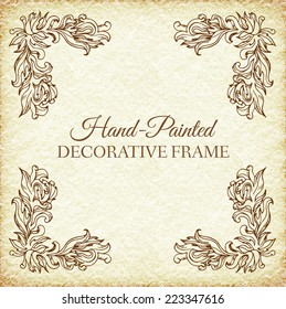 Hand drawn abstract background ornament frame on old paper illustration concept. Vector decorative retro banner of card or invitation design. Vintage traditional, indian, ottoman motifs, elements.