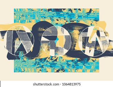 Hand Drawn Abstract Background with Painting Textures And Circle Drawing Design Elements. Vector Illustration