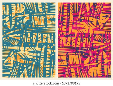 Hand drawn Abstract Background Set With Ethnic Tribal Doodles Ornament. vector illustration