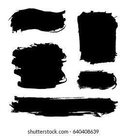 Hand drawn abstract black paint brush strokes, box, border. Vector set of shapes, frames isolated on white background.