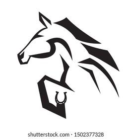 Hand Drawn Abstract Black Tribal Horse Logo Vector