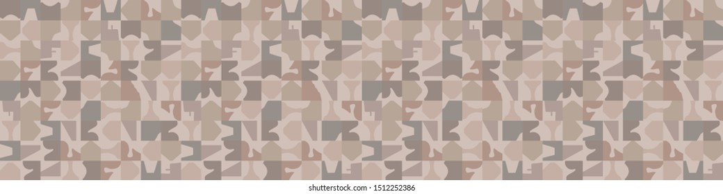 Hand drawn abstract camouflage seamless border pattern. Modern homespun brown, gray, ecru neutral tones. Geometric washi tape edging for mosaic stationery, ribbon trim, trendy asian zakka stationery.