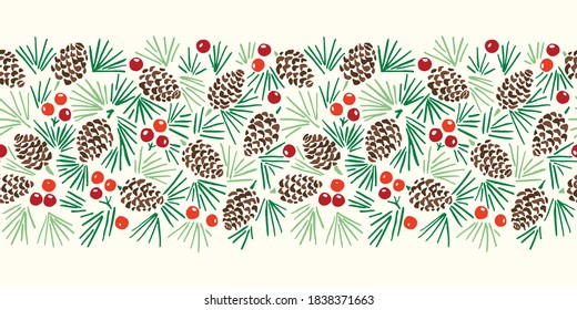 Hand Drawn Abstract Christmas Pin Cone, Red Berries, Fir Tree Foliage Horizontal Vector Seamless Pattern Border on Light Background. Modern Winter Linocut Holiday Print for Invitations, Gift Paper