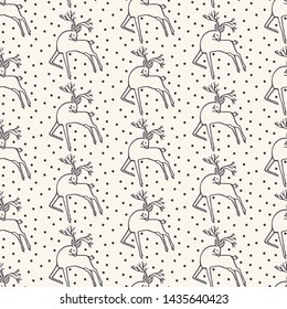Hand drawn abstract Christmas reindeer pattern. Leaping stag deer. White ecru background. Cute winter holiday all over print. Festive gift wrapping paper illustration. Scandi seamless vector swatch.