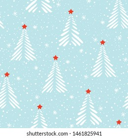 Hand drawn abstract Christmas trees, snowflakes, stars on ice blue background vector seamless pattern. Winter Holiday Scandinavian Nordic Print. Abstract stripes linocut fir tree