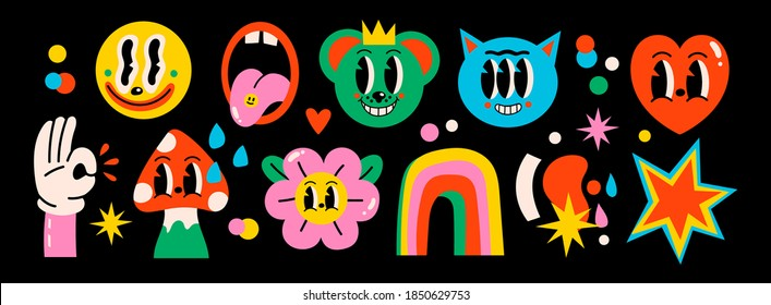 Hand drawn Abstract funny cute Comic characters. Big Set of Different colored Vector illustrations. Cartoon style. Flat design. All elements are isolated. Poster, logo Templates