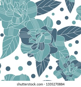 hand drawn abstract gardenia flowers seamless pattern on white background