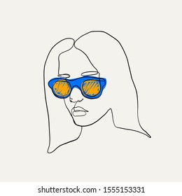 Hand drawn abstract hipster woman portrait in minimalistic graphic style. Female beauty figure logo with orange, blue and black colors isolated on white background. One line continuous sketch