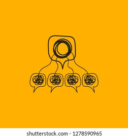 Hand drawn abstract icon group business consulting, psychological training, mentorship, seminar. Vector illustration