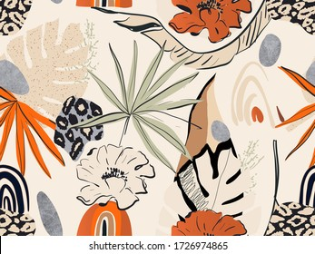 Hand drawn abstract jungle pattern with leopard print. Creative collage contemporary seamless pattern. Natural colors. Fashionable template for design.