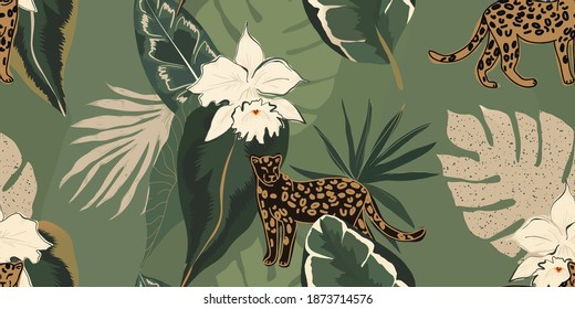 Hand drawn abstract jungle pattern with leopards. Creative collage contemporary seamless pattern. Natural colors. Fashionable template for design.