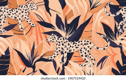 Hand drawn abstract jungle pattern with leopards. Creative collage contemporary seamless pattern. Fashionable template for design.