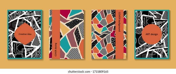 Hand drawn abstract poster set. Fashionable template for design. Abstract collage. Colorful bright vector background.
