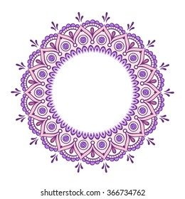 Hand drawn abstract purple pink colorful design. Decorative Indian round lace ornate mandala. Frame or plate design