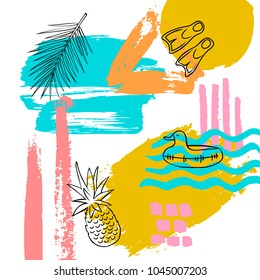 hand drawn abstract quirky summer time vacation beach paint brush art stroke textured and outlined collage card background with pineapple, coconut palm leaf , diving flippers duck float doodles