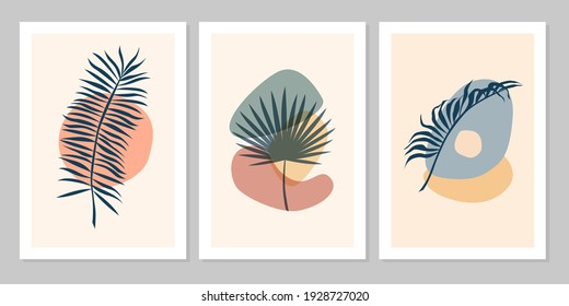 Hand drawn abstract set boho tropical leaf with color shape isolated on beige background. Vector flat illustration. Design for pattern, logo, posters, invitation, greeting card