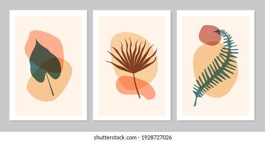 Handgezeichnet abstraktes Set bohenhaftes tropisches Blatt mit Farbform einzeln auf beigem Hintergrund. Vektorflache Illustration. Design für Muster, Logo, Plakate, Einladung, Grußkarte