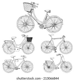 hand drawn abstract set with city bikes