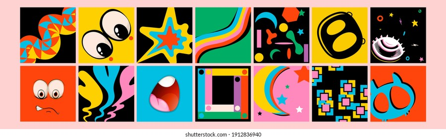 Hand drawn Abstract shapes, funny cute Comic characters. Big Set of Different colored Vector illustartions. Cartoon style. Flat design. All elements are isolated. Square Posters, logo Templates