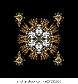 Hand drawn abstract snowflakes seamless. Template for cover, poster, t-shirt or fabric. Vector winter illustration in black colors with golden elements.