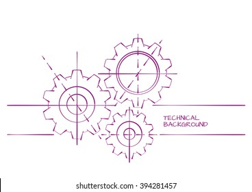 Hand Drawn Abstract Technical Background Template on White