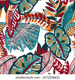 Hand Drawn Abstract Tropical Monstera Exotic Leaves Repeating Vector Pattern Isolated Background
