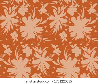 Hand Drawn Abstract Two Colors Tropical Exotic Flowers and Leaves Repeating Vector Pattern Isolated Background