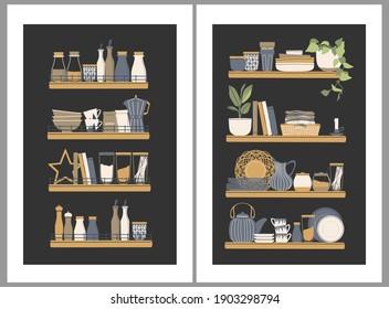 Hand drawn abstract vector set of kitchen illustrations. Kitchen tools, kitchenware, shelves. Kitchen poster