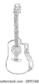 Hand drawn acoustic guitar sketch.