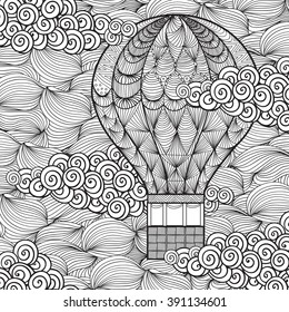 Hot Air Balloons Sky Coloring Page Stock Vector 392636170 Shutterstock