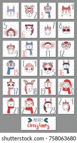 Hand drawn advent calendar with cute funny animals (bunny, cat, unicorn, owl, bear, panda, deer, elephant) in different winter hats, glasses. Design concept children, Christmas. Vector illustration